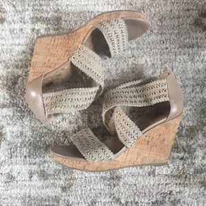 Nude/ neutral cork heel wedges